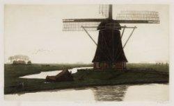 Duivendrechtsekade gezien naar een watermolen aan de Ringdijk, nabij het Diep in…