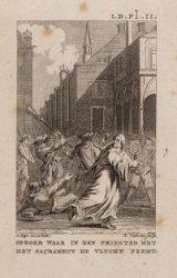 Oproer waar in een priester met het sacrament de vlucht neemt