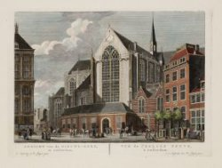 Gezicht van de Nieuwe-Kerk, te Amsterdam