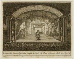 Het toneel verbeeldende Apollo in het Zonnehof