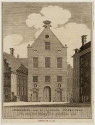 Afbeelding van de vergroote Vlees-Hal op den Ouden Zijds-Voorburgwal te Amsterda…