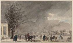 Wintergezicht op de Amstel met links Amsteldijk met herberg de Berebijt