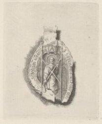 Ets naar een middeleeuws zegel met afbeelding van sint Andreas