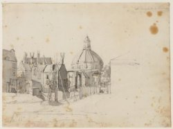 Singel gezien vanuit het noorden naar Haarlemmersluis en de Ronde Lutherse Kerk,…