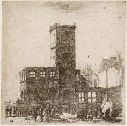 De ruïne van het oude stadhuis op de Dam na de brand van 7 juli 1652, gezien van…