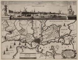 Vertooninge van Amsterdam, met syn omleggende Dorpen, wegen en wateringen, Schil…