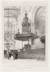 Interieur van het schip van de Nieuwe Kerk, gezien naar het orgel en de preeksto…
