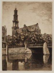 Keizersgracht bij Brug 106 met gezicht op de Westerkerk. Links: Westermarkt. Tec…