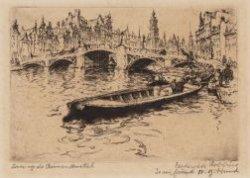 De Amstel gezien naar de Halvemaansbrug en de Munt. Links Amstel evenzijde en re…