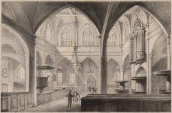 Interieur van de Amstelkerk na de verbouwing van 1840. Anonieme tekenaar