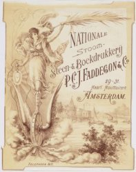 """NATIONALE/STOOM-/STEEN-& BOEKDRUKKERIJ/P.C.J.FADDEGON & Co.""; ""29-31./Haarl. Ho…"