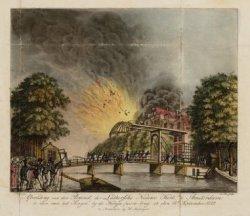 Afbeelding van den Brand, der Luthersche Nieuwe Kerk, te Amsterdam te zien van h…