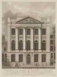 Voorgevel van het Gebouw der Maatschappyë Felix Meritis binnen Amsterdam