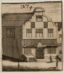 Het Kistenmakerspand op Kalverstraat 183 met links de ingang van de Olieslagerss…
