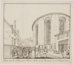 Ruïne van de Luthersche Nieuwe Kerk, van de Stroomarkt na het kattengat te zien.…