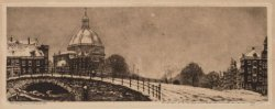 De Ronde Lutherse Kerk, Singel 11, met op de voorgrond een gefingeerde boogbrug …