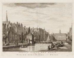 Gezigt langs het Rokin, op de Nieuwe-Zyds-Kapel en Beurs
