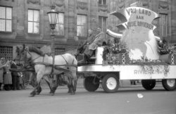 Praalwagen van de Rivierenbuurt in de optocht voor het Koninklijk Paleis op de D…