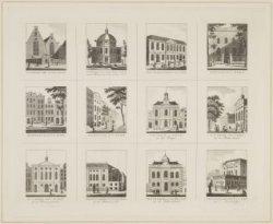 Verzamelprent met afbeelding van twaalf Amsterdamse (niet-hervormde) kerken en s…