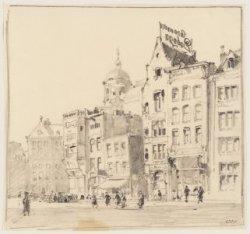 """Damrak 97-101, tijdens de sloop van gebouw """"de Bisschop"""". Getekend door Cornelis…"""