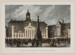 De Dam te Amsterdam, op den avond van den 16den November 1863