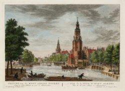 Gezicht van de Mont Albans Tooren langs de Oude Schans te zien te Amsterdam