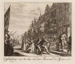 Opschudding voor het huis van den Admiraal de Ruiter, 1672
