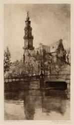 De Westerkerk gezien over het water van de Keizersgracht met op de voorgrond  Br…