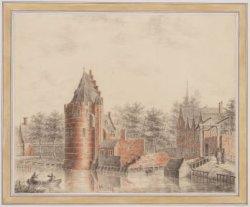 """De toren """"Swygh Utrecht"""" met rechts ingang Kloveniersburgwal en de toren van de …"""
