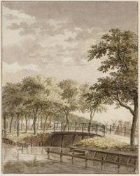 De brug in de Singelweg gezien uit de tuin Niets Sonder Arbeijd