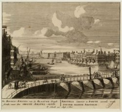 De Binnen-Amstel van de Blaauwe-brugh siende; naar den Groote Amstel-Sluis