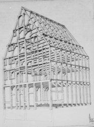 Singel 2, dubbelpakhuis De Kruiwagen ofwel de Spaanse Gevel, tekening van het ho…