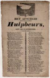 Gedicht 'Het afscheid der klagende Hulpbeurs'
