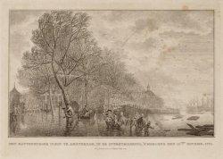 Het Kattenburger Plein te Amsterdam, in de overstrooming, 's morgens den 15den. …