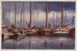 De Oude Houthaven met enkele binnenvaartschepen en 2 opduwertjes in de Houthaven