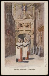 Enkele weesmeisjes verlaten het Burgerweeshuis, Kalverstraat 92. Uitgave Jos Nus…