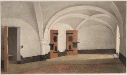 Het interieur van het Tucht- of Rasphuis, Heiligeweg 19. Het keldercachet met ce…