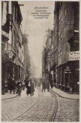 Verzamelblad van vier prentbriefkaarten van de Vijzelstraat in December 1916