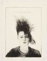 Portret van Ingrid, een punkmeisje, Derde Oosterparkstraat 46. Techniek: ets en …
