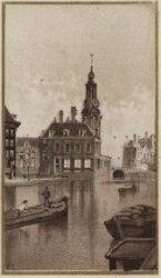Singel, gezien naar Muntgebouw en Muntplein. Litho in donkerbruin met goudkleuri…