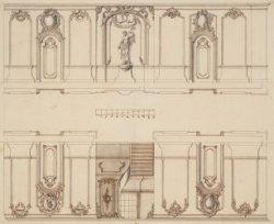 Keizersgracht 224 (Saxenburg). Ontwerp van stucdecoraties in de gang van het woo…