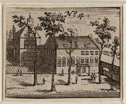 De binnenplaats van het Leprozenhuis, naar de prenten in Dapper en Domselaer