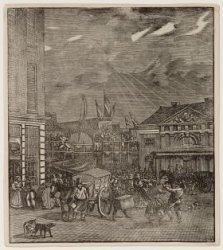 Kermis op de Botermarkt, het huidige Rembrandtplein. Techniek: houtsnede