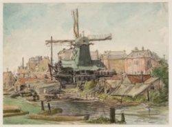 """De paltrokmolen """"de Kieviet"""" aan de Zaagmolensloot (later Gerard Doustraat)"""