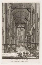 De Nieuwe Kerk, van binnen, naar 't Westen, te zien
