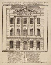 Een volksprent van het gebouw Felix Meritis, Keizersgracht 324 met tekst erbij. …