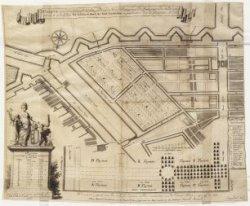 Caarte waarin vertoont werd de platte grond van de Nieuwe Plantage tussen de Hee…