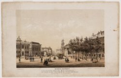 De gedempte Deventer Houtmarkt, gezien in westelijke richting naar Waterlooplein