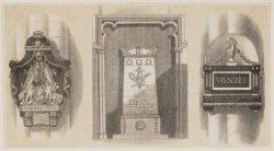 Verzamelprent van drie diverse Gedenkteekenen in de Nieuwe Kerk