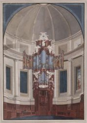 Het orgel in de Ronde Lutherse Nieuwe Kerk aan de Singel 11. Getekend door J.A. …